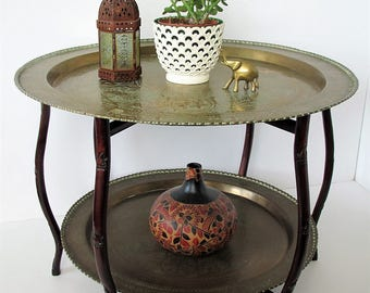 Vintage brass tray table/ folding wood/two tier brass roundtable/ boho decor/ global design/Asian accent/large