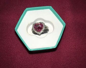 Beautiful Pink Heart Shape Ring