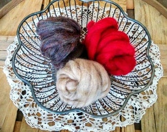 Wool For Felting - 3 Bundles of Wool - 1 oz.