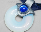 Opalite Donut Pendant in Silver Polymer Clay Setting and a Blue Accent Gem