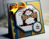 "A Warm Hello Card- Handmade Card Greeting Card 5.25 x 5.25""  Penny Black Thinking of You Just Because Cards Gift  Stationery 3D Card - OOAK"