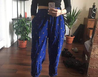 vintage bright blue paisley damask pleated high waisted corduroy pants 90s size S