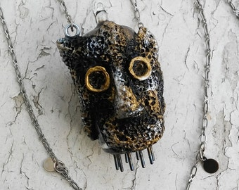 Steampunk Fuze Creature Sculpey Black Silver Gold Pendant Necklace Jewelry