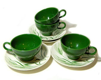 Four Homer Laughlin Wheat Americana Cups and Saucers Green Wheat