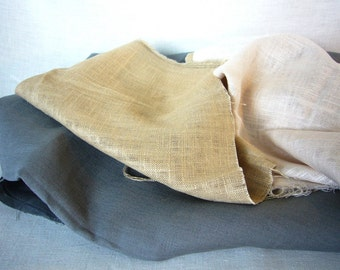 Assorted linen fabric remnants sale! Pure Eco linen flax out cuts for sewing projects; Pastel Zen color sheer silky soft linen fabric mix