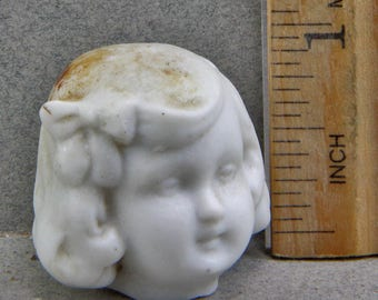 Vintage German Frozen Charlotte  Doll Head Excavated Doll Head Altered Art Doll Parts