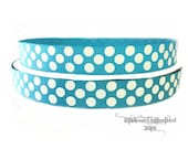 10 Yds WHOLESALE 7/8 Inch Turquoise-White Jumbo Polka Dot grosgrain ribbon. LOW SHIPPING Cost.