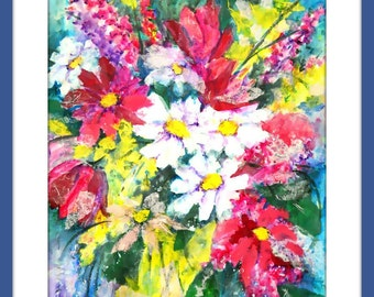 Acrylic Flowers, Collage Bouquet, Colorful Canvas, Martha Kisling Art With Heart