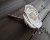 Ships in 5 days ~~~ Rustic Boutonniere with Sola Flower & Jute.