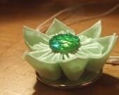 Pistachio Apple Green White Polkadot Mermaid Fish Scale Handmade Fabric Origami Flower Necklace