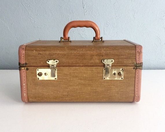 1940s Vintage Train Case Small Tweed Suitcase Vintage