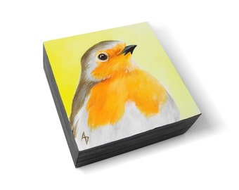 English Robin painting - european robin songbird original painting - birdwatcher gift - birdwatching - wildlife art block - yellow orange