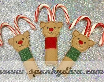Reindeer Candy Cane Holders - set of 3