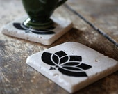 Lotus Flower Coaster Set, Yoga Yogi Natural Tumbled Marble Rustic Coasters Set of TWO 4x4, Handmade Home Decor Shabby Chic Gift