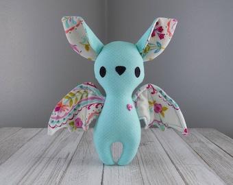 bat plushie, stuffed animal bat, cute bat plush toy in teal, kawaii plushie, unique stuffed animal