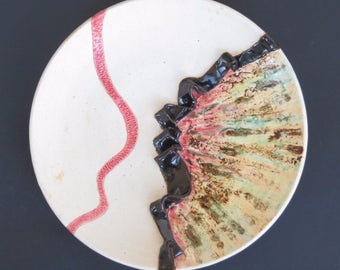 Abstract Ceramic Plate Multi Color Contemporary Clay Art Dish Bold Modern Pottery Vessel  Centerpiece Statement Tray Decorative Dish