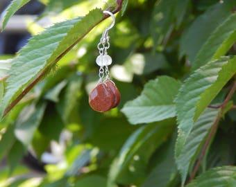 Goldstone Teardrop and Rose Quartz Drop Handmade Earrings, Sterling Silver Earrings, One of a Kind, OOAK