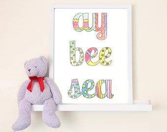 Ay Bee Sea Hand-Illustrated Children's Art Print
