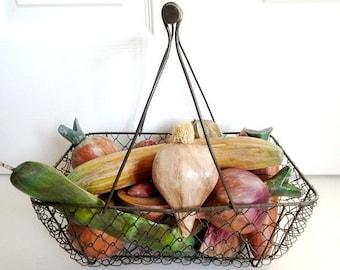 Hand Carved Wood Fruit & Vegetables, 13 Pieces in Wire Basket, Vintage Folk Art
