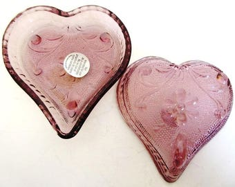 Purple Glass Heart Party Candy Dish Set of 10, Vintage Home Interiors Tiara Sandwich Glass NOS