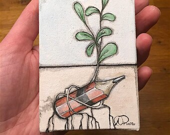 "Mini Original Painting - ""Where the Lost Things Grow 1"""