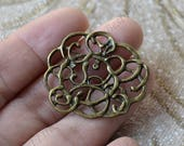 10PCS Antique Bronze tone Filigree Jewelry Connectors Setting,Connector Finding,Filigree Findings,Flower Filigree