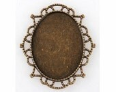 40x30mm bronze setting blank cabochon base Bronze frame for cameos & gems loose unset stones  jewelry finding 941x