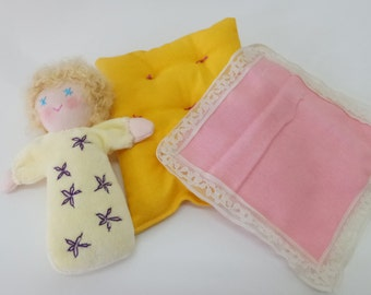 Sleeping Doll Set, Doll Set, Soft Doll, Yellow Doll, Bunting Doll