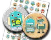 50% OFF SALE Robots Digital Images 1 inch circles. Printable robot machine boys party decors. Collage Sheet for bottle caps, magnets, cupcak