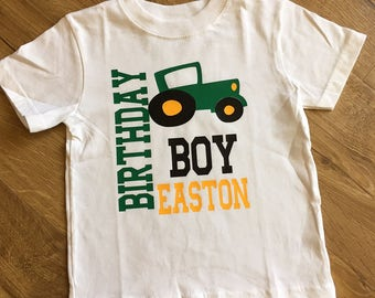 Personalized Tractor Theme Birthday Shirt