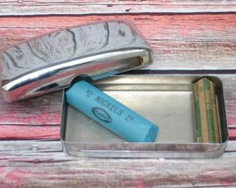 Vintage Metal Case Chrome Vanity Box Knick Knack Catch-All