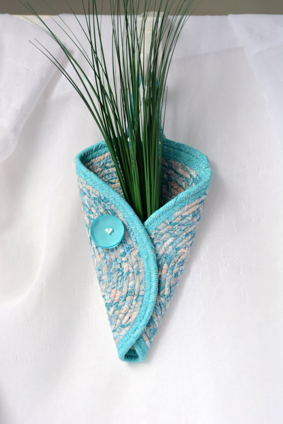 Turquoise Wall Vase, Handmade Aqua Blue Wall Art, Shabby Chic Fabric Pottery Vase, Aqua Blue Door Wreath, Turquoise Wall Vase
