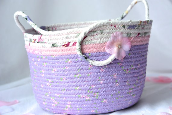Shabby Chic Basket, Handmade Baby Basket, Lovely Lavender Storage Organizer, Nursery Basket, Girl Shower Gift Basket