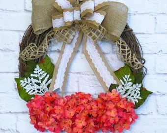 Summer Wreath, Hydrangea Wreath, Pink Hydrangeas, Pink Wreath