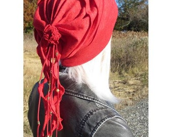 Women's Bohemian Clothing Slouchy Beanie Hat Red Oversized Tam Rose Back Linen Cotton Beaded Leather Tie Back Knit Hat   A1866