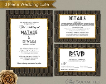 Art Deco Wedding Invitation Suite   1920s, Swing, Black and Gold, Gold Foil Look   Invitation, RSVP, Details   INSTANT DOWNLOAD