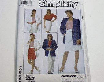 Simplicity 8606: Misses' Pants, Shorts, Skirt, Unlined Jacket and Top Sizes 6,8,10 UNCUT
