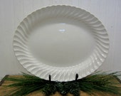"Reserved for cobaslina1 - Vintage Sheffield Bone White USA Ironstone Type 13"" Large Oval Serving Platter Plate"