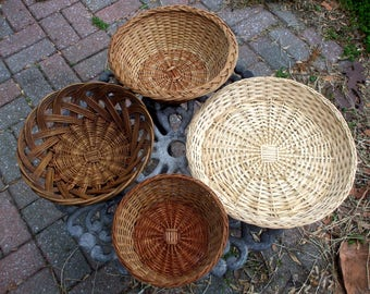 Vintage Baskets And Tray Woven Rattan Wicker Lot 1970's Rustic Kitchen Decor Bread Baskets One Tray Three Baskets