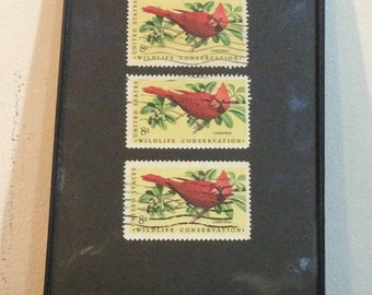 "Cardinal - Recycled Postage Stamp Framed Art 4""x6"", 4x6, red bird, bird stamps, cardinals fan"