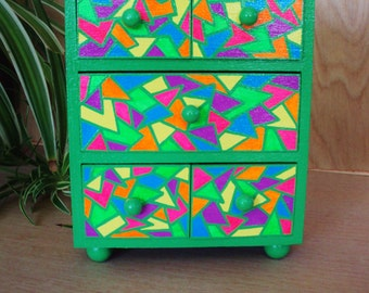 Chest of Drawers Hand Painted Decorative Stained Glass Look with Bright Green Lines in Geometric Shapes of Yellow Pink Orange Purple Blue