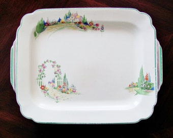 Rare Homer Laughlin English Garden Serving Platter 12 Inch Decal Ware 1940s