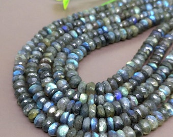 Natural Labradorite 6-7mm Faceted Rondelle Gemstone Beads / Approx 95 pieces on 14 Inch long strand / JBC-ET-BLBR010