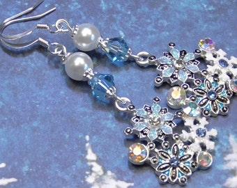 Earrings Silver Plated Glitter Snowflakes Glass Pearls Aqua Marine, Rainbow AB, Clear & Lt. Sapphire Crystals Winter Seasonal Earrings