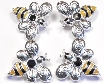 Four 2 Hole Slider Beads, Links, Connectors, Silver Plated Yellow & Black Enamel Bees with Fancy Stamped Swirled Wings Bee Insect Nature