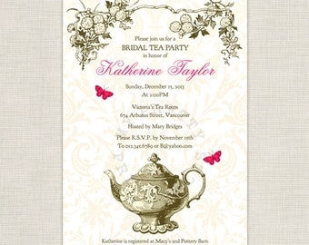 Garden Tea party - DIY printable Bridal Shower Invitation
