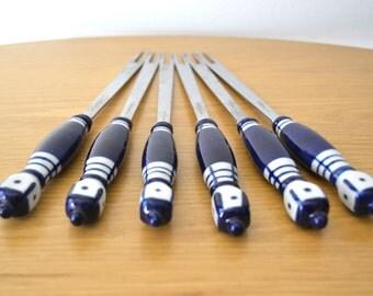 Rosenthal Grill Blue Porcelain Fondue Forks