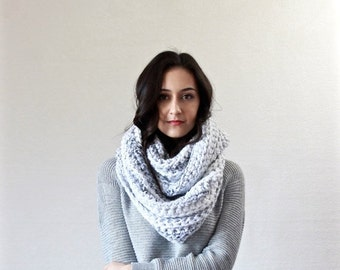 End of season SALE chunky infinity scarf. hooded knit scarf. thick textured fall winter accessory // The Lourdes - MARBLE