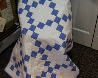 Traditional Irish Chain, Wedgwood Blue, Hand Quilted, Lap Quilt, Baby Quilt
