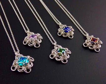Caged Crystal Labrynth Pendants